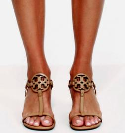 $268 Tory Burch MILLER WEDGE LOGO SANDAL Dusty Cypress TAN 8