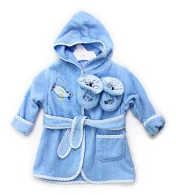 Spasilk 100% Cotton Hooded Terry Bathrobe with Booties, Blue