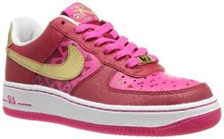 Nike Kid's Air Force 1 GS, GYM RED/MTLLC GOLD-VIVID PINK-WHI