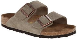 Birkenstock Unisex Arizona Slide Fashion Sandals, Taupe Leat