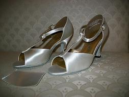 Capezio Ballroom Dance Shoes White Satin or Tan Leather Cour