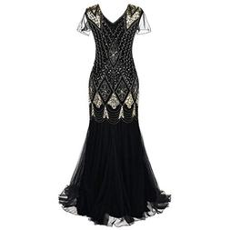 Realdo Women Banquet Cocktail Dress, Women 1920s Bead Fringe