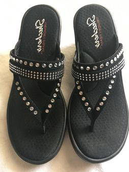 ~SKECHERS BLACK RHINESTONE WEDGE SANDALS SIZE 8~