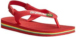 Havaianas Baby Brazil Logo Thong Sandal , Ruby Red, 17 BR