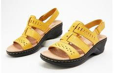 Clarks Collection Leather Cut Out Sandals Lexi Qwin Yellow -