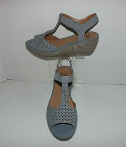 CLARKS Collection Leather Soft Cushion Comfort Wedge Sandals