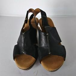 Clarks  Collection Womans sz.8.5mSoft Cushion Black Wedge  S