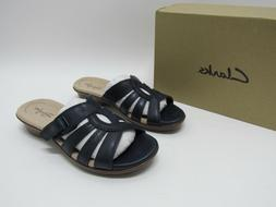 Clarks Collection Wome's Loomis Gale Slide Sandals Navy Leat