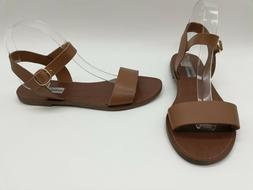 Steve Madden Donddi Women Shoes Brown Leather Ankle Strap Fl