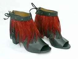 Leather and Feather Fringe Anklet Shoe Cuff in Rooster Red