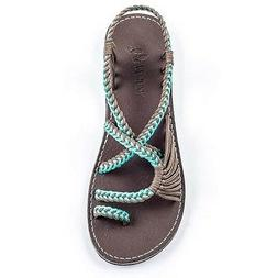 Plaka Flat Sandals for Women Palm Leaf Turquoise Gray 8 M US