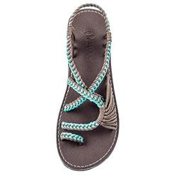 Plaka Flat Sandals for Women Turquoise Gray 8 Palm Leaf
