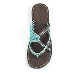 Plaka Flip Flops Slide Sandals for Women Turquoise Gray 8 Oc