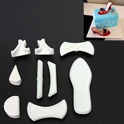 FVIEW 9Pcs Plastic Lady Cutter High-Heeled Shoes Sandals Cak