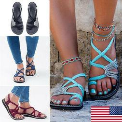 Girl Bohemian Flat Flip Flops Sandals Women Bandages Casual