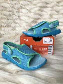 GIRLS: Nike Sunray Adjustable Sandals, Blue & Green - Size 1