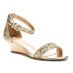DREAM PAIRS Women's Ingrid Gold Glitter Ankle Strap Low Wedg