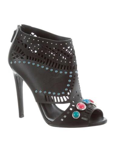 $1,195 Embellished Open-Toe Lika Ankle Bootie Pump