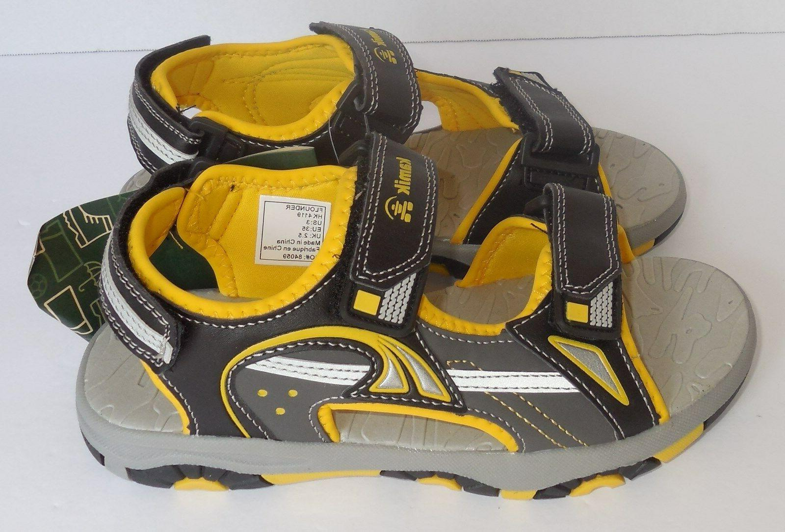 Kamik Youth Flounder Sandals Black Yellow Shoes
