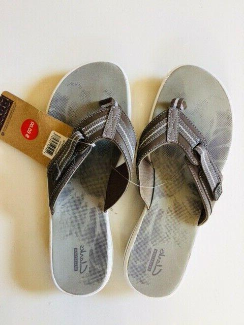 CLARKS Brinkley Flip Sandal Pewter, Women's Size NEW