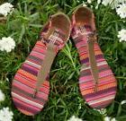 TOMS BROWN WOVEN WOMEN'S LEATHER PLAYA SANDALS SHOES. Style