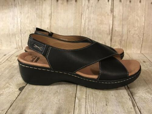 Clarks Women's size 7.5 Soft Strap Black Wedge