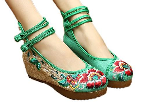 embroidery floral strappy round toe