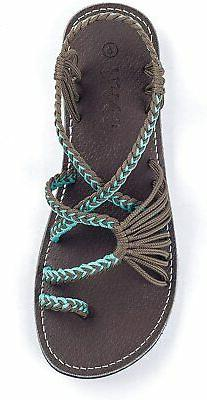 Plaka Flat Sandals for Women Palm Leaf, Turquoise Gray, Size