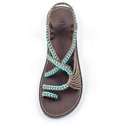 flat sandals for women palm leaf turquoise