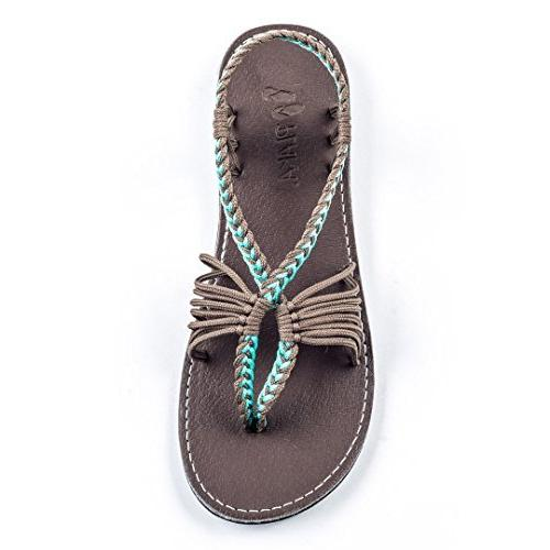 flat sandals for women turquoise gray 8