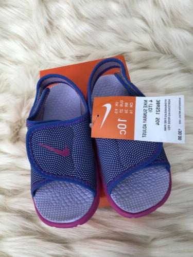GIRLS: Nike Sunray Adjustable Sandals, Pink & Purple - Size