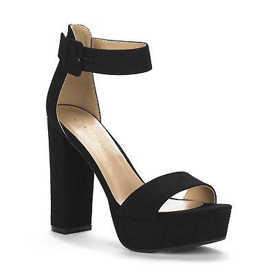 DREAM PAIRS Women's Open Toe Ankle Strap High Chunky Heel Sa