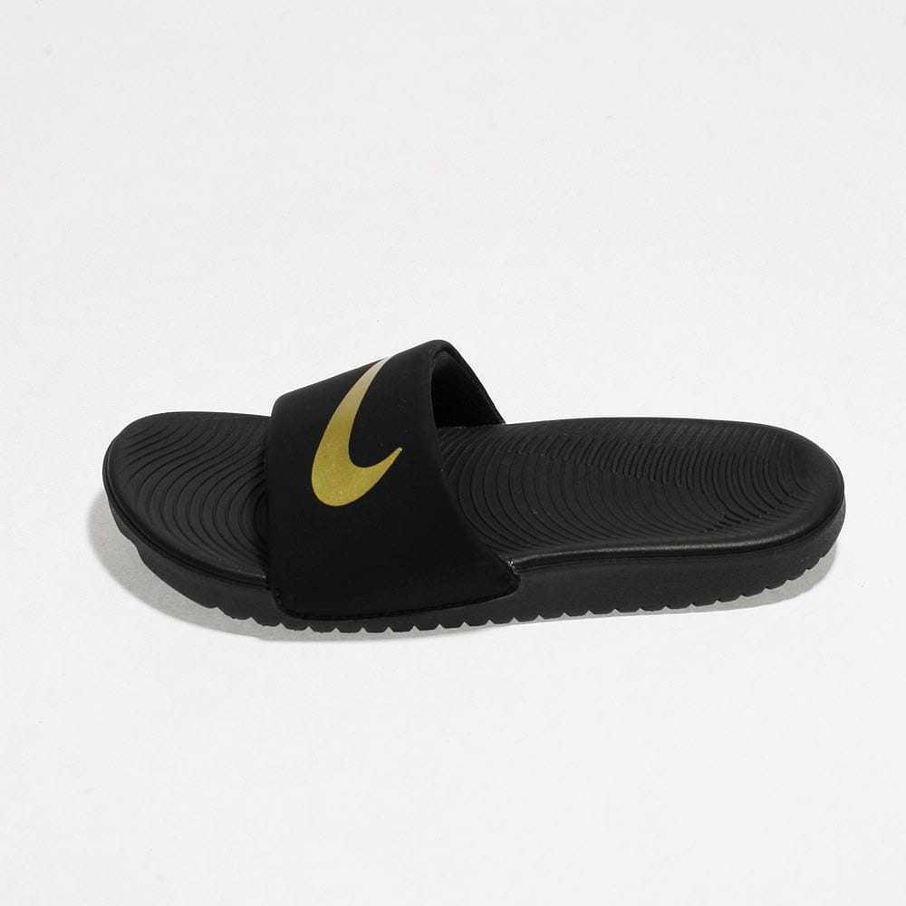 kids kawa slide sandals black metallic gold