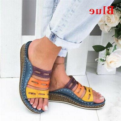 Ladies Womens Heel Slip Summer Sandals Platform 4.5-11