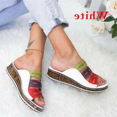 Ladies Wedg Slip On Sandals Platform 4.5-11