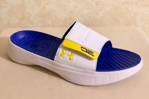 Men UA Under Armour SC Curry III Slides Sandals White/Blue/Y