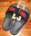New Men's Nike Benassi JDI Slide Sandals Black/Challenge Red