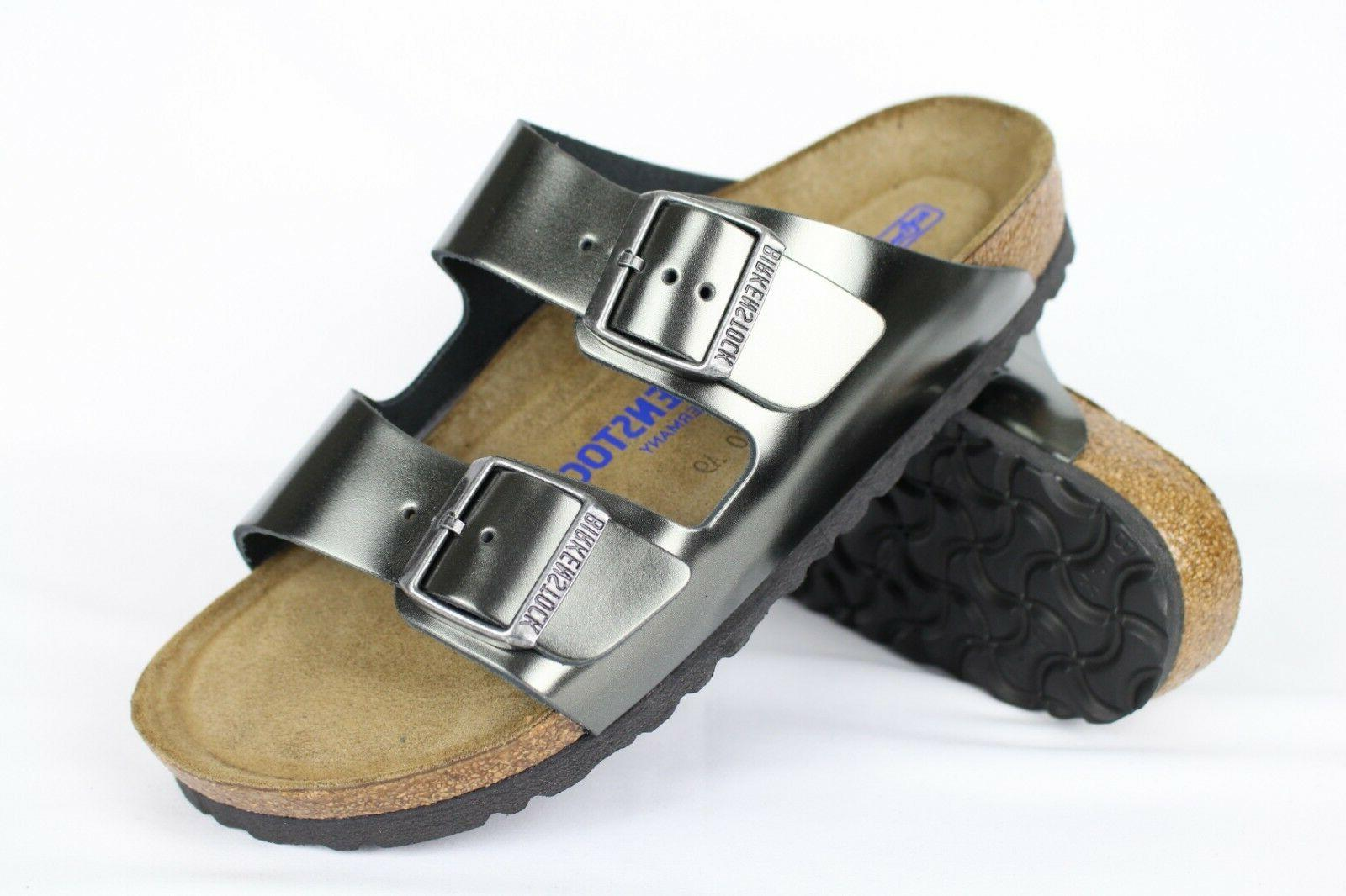 New Birkenstock Women's Arizona Soft Footbed Sandals Metalli