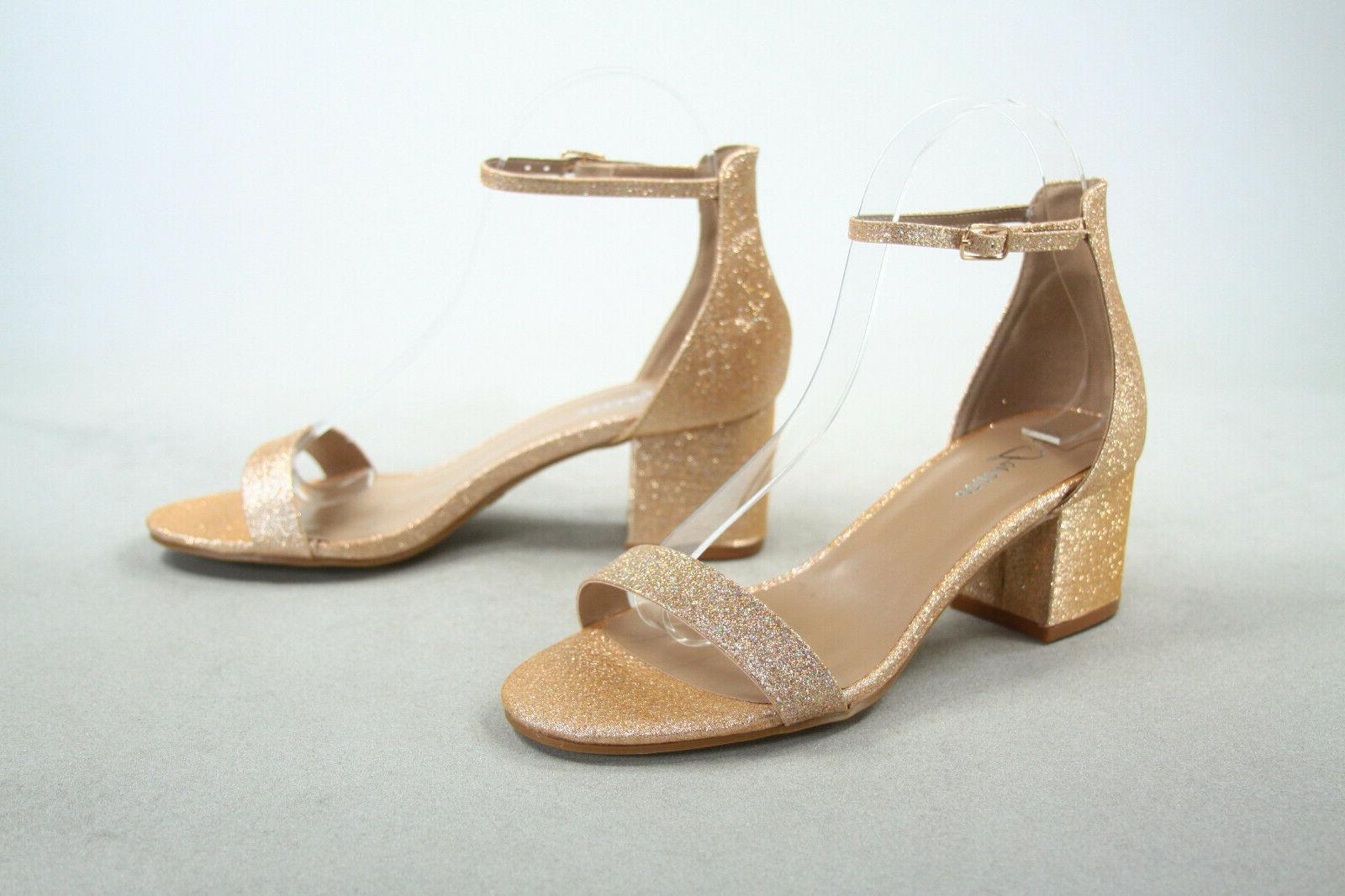 NEW Ankle Strap Low Heel Dress Sandal Shoes Size 5 -