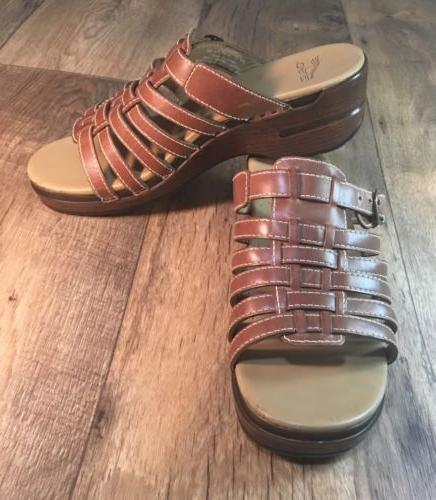 NEW Women's DANSKO Minimal Wedge Heel Sandals Buckle Brown
