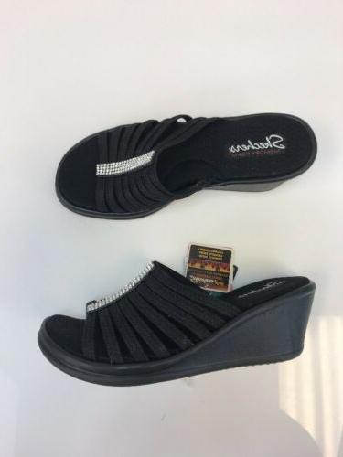 nwt women s black rhinestone slip on