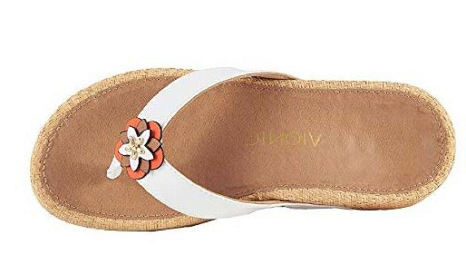 Vionic PACIFIC MIMI Embellished Leather Sandals WHITE 9 M