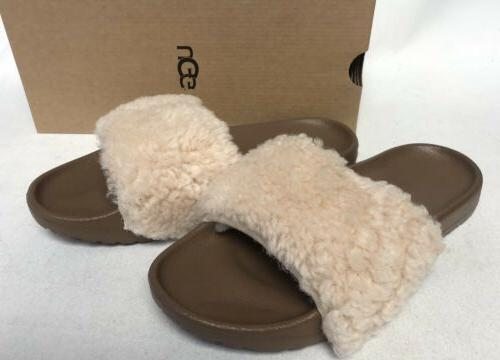 Ugg Australia Royale Fur Slide Sandals 1095670 sizes Natural