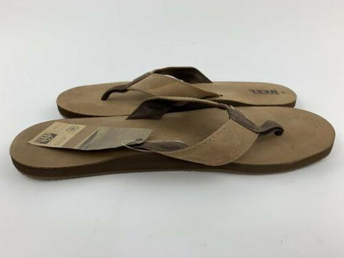 Reef Smoothy Bronze Mens Leather Flip Brown New