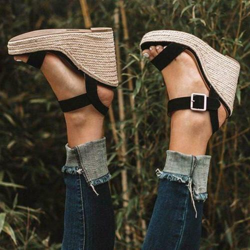 Straw Sandals Shoes Ladies Open Toe Buckle US