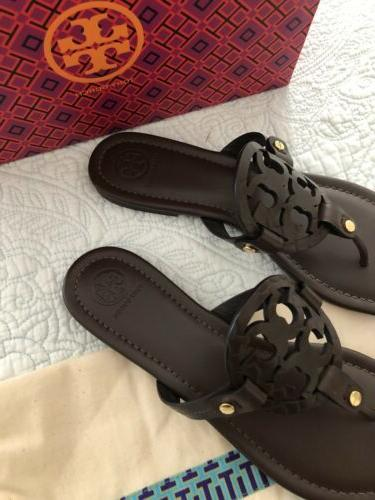 Tory Burch MILLER Snake Print Chocolate Leather New