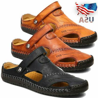 US Men Summer Sandals Closed Toe Fisherman Shoes Leather Sli