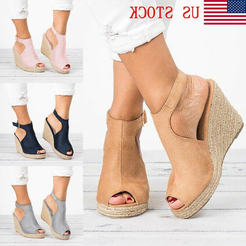 us womens wedges heel sandals casual straw
