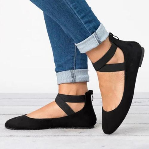 Women Ballerina Shoes Ankle Strap Slip On Shoes