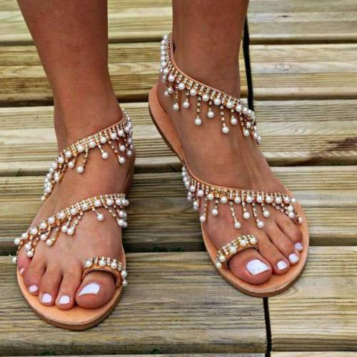 Women Sandals Pearl Clip Toe Summer USA